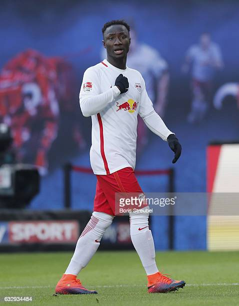 Naby Keita of RB Leipzig reacts during the Bundesliga match between RB Leipzig and TSG 1899 Hoffenheim at Red Bull Arena on January 28 2017 in...