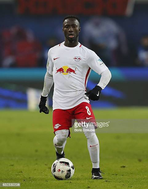 Naby Keita of RB Leipzig runs with the ball during the Bundesliga match between RB Leipzig and Eintracht Frankfurt at Red Bull Arena on January 21...