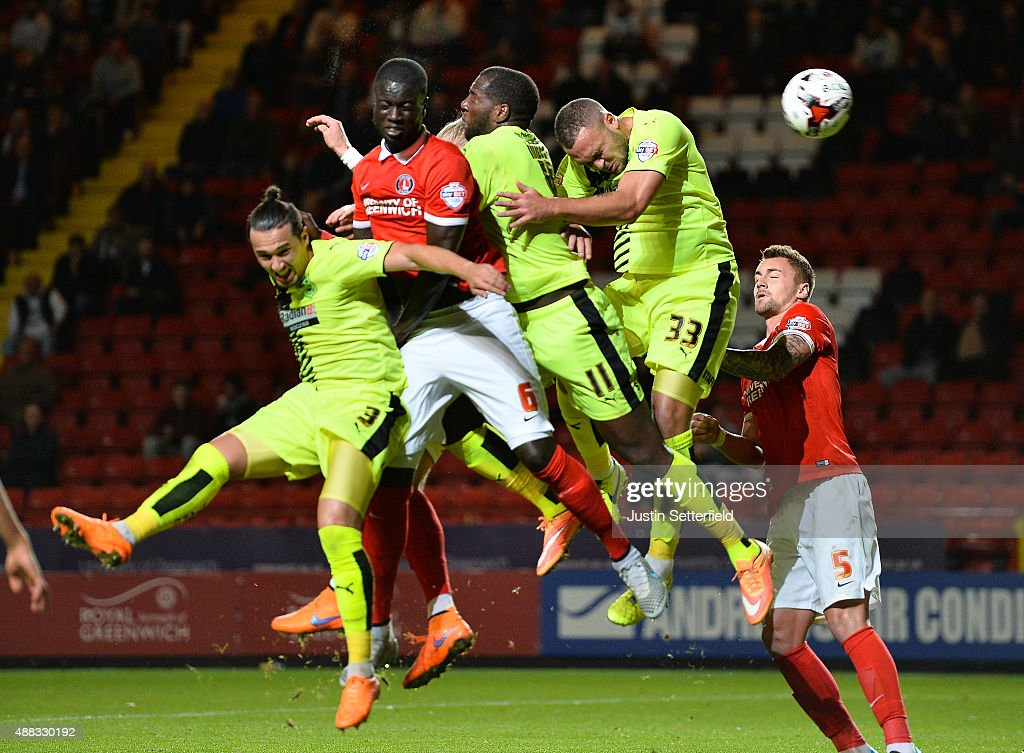 Naby Sarr of Charlton scores Charlton's first goal during the Sky Bet Championship match between Charlton Athletic and Huddersfield Town at The Valley on September 15, 2015 in London, England.