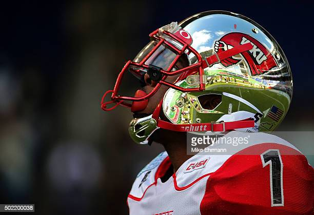 Nacarius Fant of the Western Kentucky Hilltoppers looks on during the 2015 Miami Beach Bowl against the South Florida Bulls at Marlins Park on...