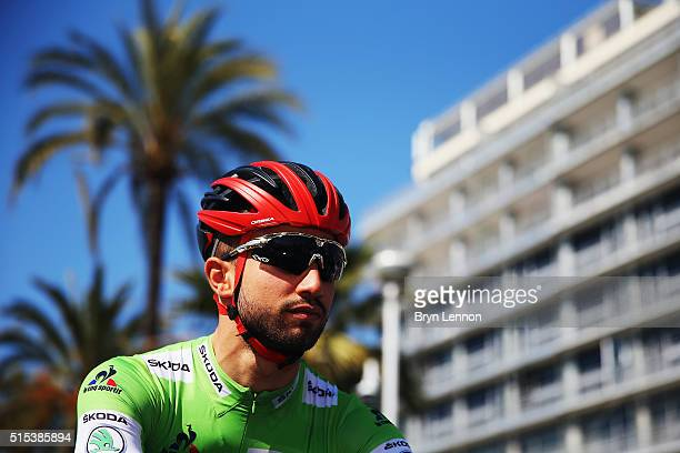 Nacer Bouhanni of France and Cofidis looks on at the start of stage 6 of the 2016 ParisNice a 177km stage from Nice to La Madone d'Utelle on March 12...
