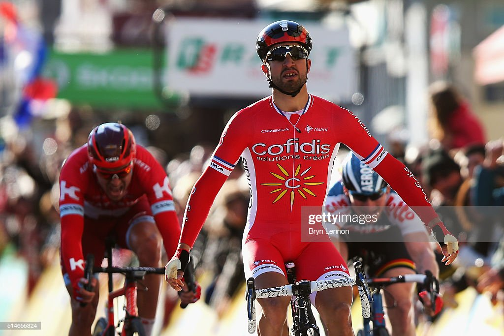 <a gi-track='captionPersonalityLinkClicked' href=/galleries/search?phrase=Nacer+Bouhanni&family=editorial&specificpeople=8831629 ng-click='$event.stopPropagation()'>Nacer Bouhanni</a> of France and Cofidis Solutions Credit celebrates after winning stage four of the 2016 Paris-Nice, a 195km road stage from Julienas to Romans-sur-Isere on March 10, 2016 in Romans-sur-Isere, France.