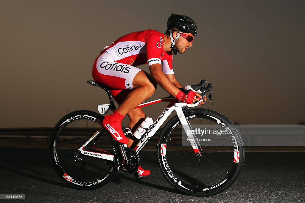 <a gi-track='captionPersonalityLinkClicked' href=/galleries/search?phrase=Nacer+Bouhanni&family=editorial&specificpeople=8831629 ng-click='$event.stopPropagation()'>Nacer Bouhanni</a> of France and Cofidis Solutions Credit in action on stage three of the 2015 Tour of Qatar, a 10.9km individual time trial at the Lusail motor racing circuit, on February 10, 2015 in Doha, Qatar.