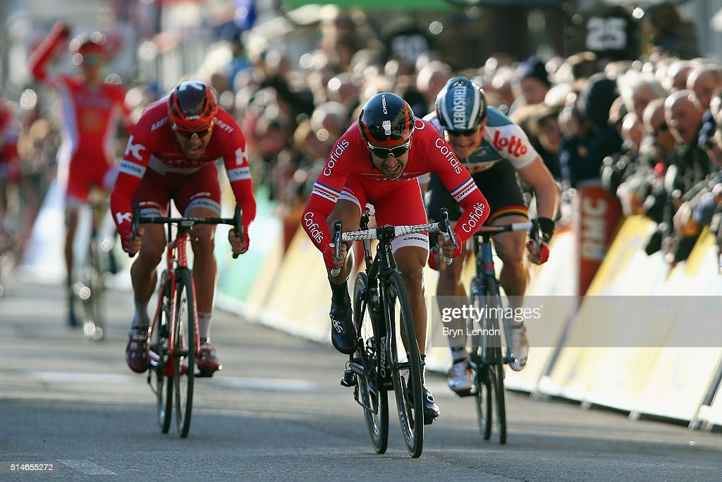 <a gi-track='captionPersonalityLinkClicked' href=/galleries/search?phrase=Nacer+Bouhanni&family=editorial&specificpeople=8831629 ng-click='$event.stopPropagation()'>Nacer Bouhanni</a> of France and Cofidis Solutions Credit sprints for the finish line on his way to winning stage four of the 2016 Paris-Nice, a 195km sroad stage from Julienas to Romans-sur-Isère on March 10, 2016 in Romans-sur-Isere, France.