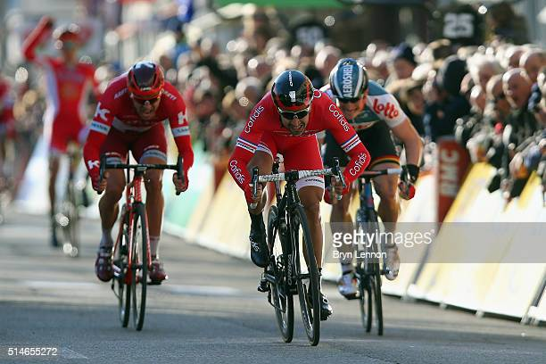 Nacer Bouhanni of France and Cofidis Solutions Credit sprints for the finish line on his way to winning stage four of the 2016 ParisNice a 195km...
