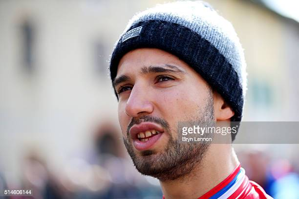 Nacer Bouhanni of France and Cofidis Solutions Credits looks on at the start of Stage Four of the 2016 ParisNice a 1935 km stage from Julienas to...