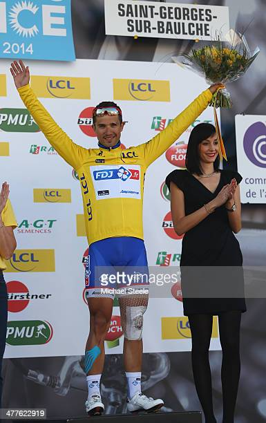 Nacer Bouhanni of France and FDJ retains the leaders yellow jersey during Stage Two of the Paris Nice race from Rambouillet to SaintGeorgessurBaulche...