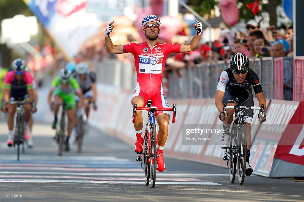 <a gi-track='captionPersonalityLinkClicked' href=/galleries/search?phrase=Nacer+Bouhanni&family=editorial&specificpeople=8831629 ng-click='$event.stopPropagation()'>Nacer Bouhanni</a> of France and FDJ.fr (C) celebrates after winning the tenth stage of the 2014 Giro d'Italia, a 173km stage between Modena and Salsomaggiore on May 20, 2014 in Modena, Italy.