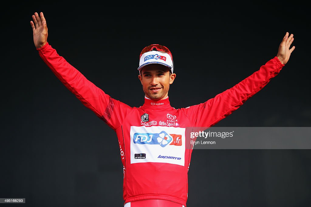 <a gi-track='captionPersonalityLinkClicked' href=/galleries/search?phrase=Nacer+Bouhanni&family=editorial&specificpeople=8831629 ng-click='$event.stopPropagation()'>Nacer Bouhanni</a> of France and FDJ.fr celebrates winning the points jersey in the 2014 Giro d'Italia, a 172km stage between Gemona del Friuli and Trieste on June 1, 2014 in Trieste, Italy.