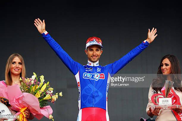 Nacer Bouhanni of France and FDJfr celebrates winning the points jersey in the 2014 Giro d'Italia a 172km stage between Gemona del Friuli and Trieste...