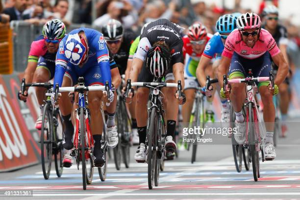 Nacer Bouhanni of France and FDJfr wins the bunch sprint during the seventh stage of the 2014 Giro d'Italia a 211 km stage between Frosinone and...