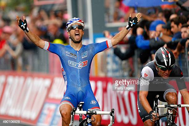 Nacer Bouhanni of France and FDJfr wins the fourth stage of the 2014 Giro d'Italia a 112km stage between Giovinazzo and Bari on May 13 2014 in Bari...
