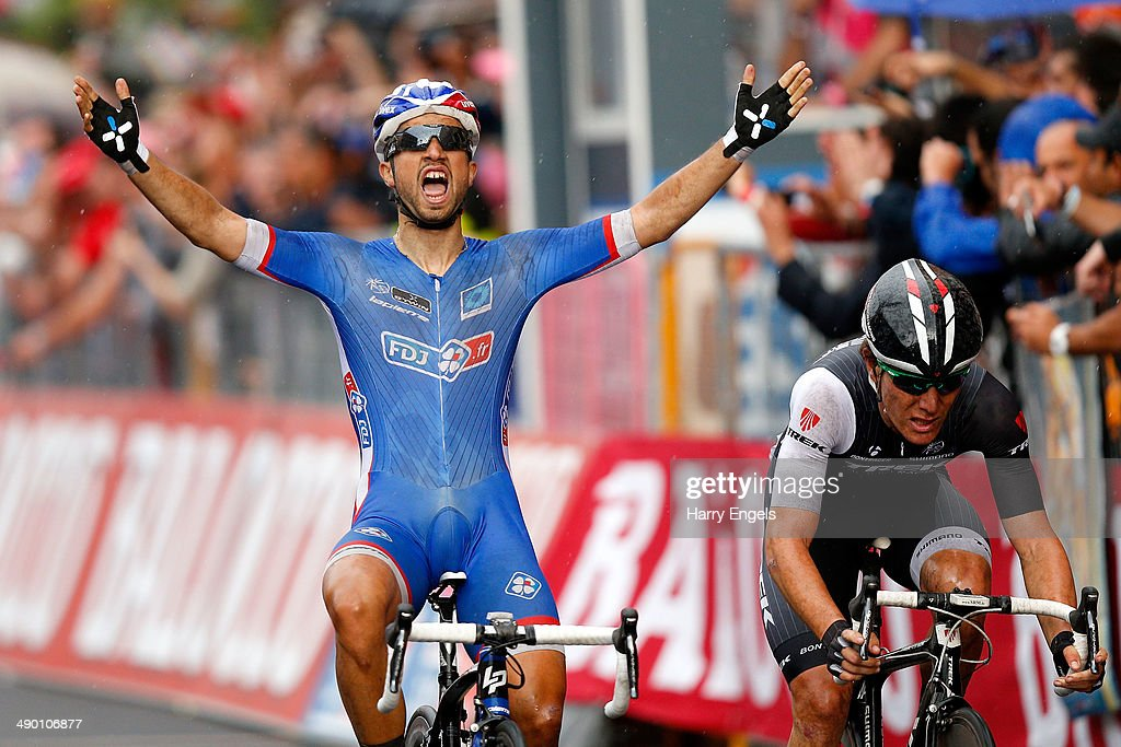 <a gi-track='captionPersonalityLinkClicked' href=/galleries/search?phrase=Nacer+Bouhanni&family=editorial&specificpeople=8831629 ng-click='$event.stopPropagation()'>Nacer Bouhanni</a> of France and FDJ.fr (L) wins the fourth stage of the 2014 Giro d'Italia, a 112km stage between Giovinazzo and Bari on May 13, 2014 in Bari, Italy.