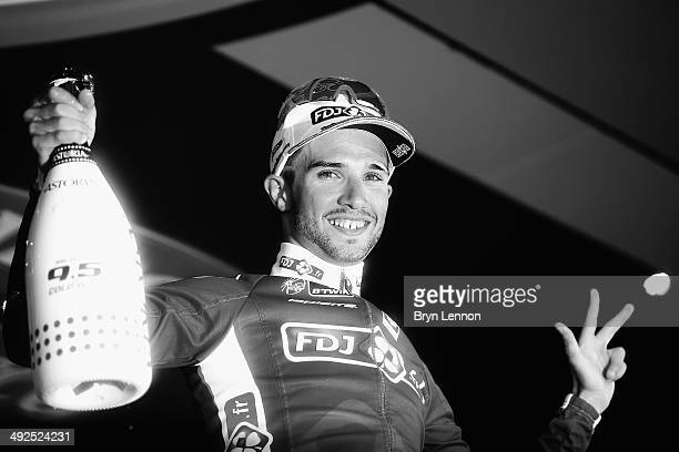 Nacer Bouhanni of France and team FDJfr celebrates his 3rd stage win after the tenth stage of the 2014 Giro d'Italia a 173km stage between Modena and...