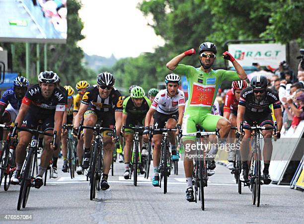 Nacer Bouhanni of team COFIDIS SOLUTIONS CREDITS takes 1st place during Stage Four of the Criterium du Dauphine on June 10 2015 in AnneyronPorte de...
