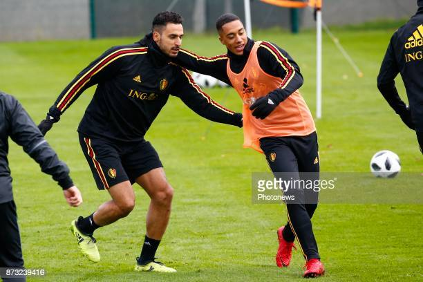Nacer Chadli midfielder of Belgium and Youri Tielemans midfielder of Belgium picture during the press conference and training session of the Red...