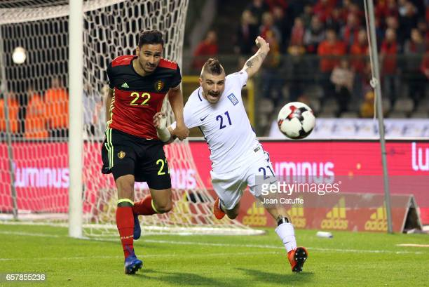 Nacer Chadli of Belgium and Kostas Stafylidis of Greece in action during the FIFA 2018 World Cup Qualifier between Belgium and Greece at Stade Roi...
