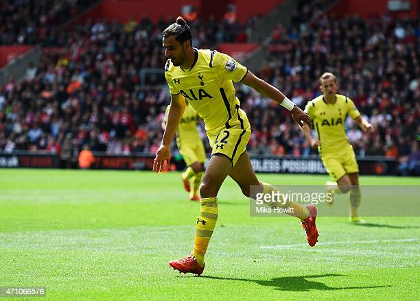 Nacer Chadli of Spurs celebrates as he scores their second goal during the Barclays Premier League match between Southampton and Tottenham Hotspur at...