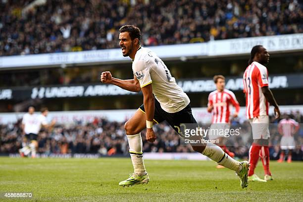 Nacer Chadli of Spurs celerates after scoring a goal during the Barclays Premier League match between Tottenham Hotspur and Stoke City at White Hart...