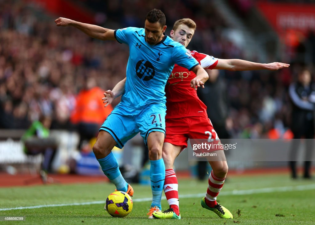<a gi-track='captionPersonalityLinkClicked' href=/galleries/search?phrase=Nacer+Chadli&family=editorial&specificpeople=7132461 ng-click='$event.stopPropagation()'>Nacer Chadli</a> of Spurs holds off the challenge from <a gi-track='captionPersonalityLinkClicked' href=/galleries/search?phrase=Calum+Chambers+-+Soccer+Player&family=editorial&specificpeople=10599271 ng-click='$event.stopPropagation()'>Calum Chambers</a> of Southampton during the Barclays Premier League match between Southampton and Tottenham Hotspur at St Mary's Stadium on December 22, 2013 in Southampton, England.