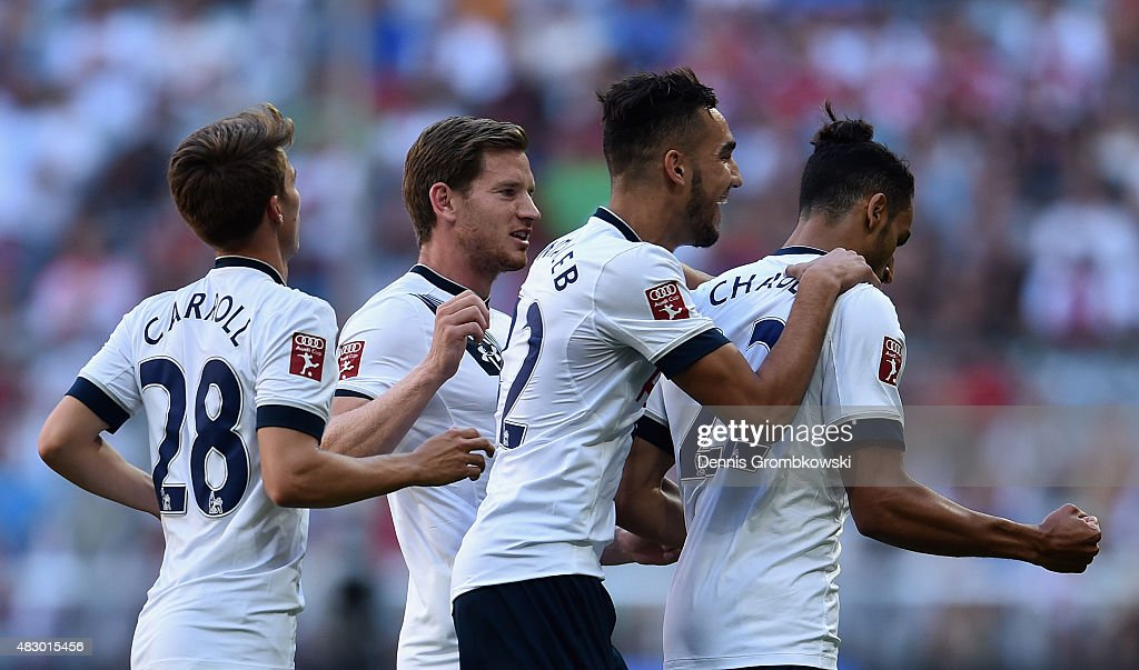 Nacer Chadli of Tottenham Hotspur celebrates as he scores the opening goal during the Audi Cup 2015 match between Tottenham Hotspur and AC Milan at Allianz Arena on August 5, 2015 in Munich, Germany.