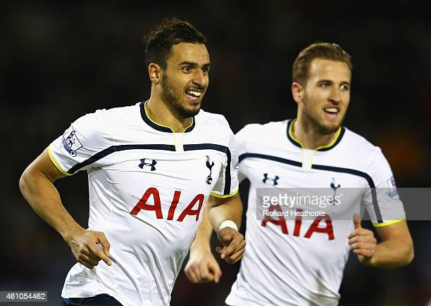 Nacer Chadli of Tottenham Hotspur celebrates scoring the opening goal with Harry Kane of Tottenham Hotspur during the FA Cup Third Round match...
