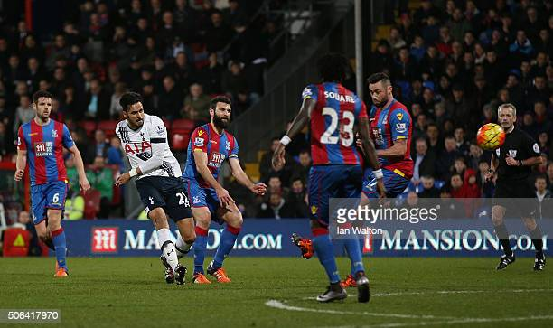 Nacer Chadli of Tottenham Hotspur scores his team's third goal during the Barclays Premier League match between Crystal Palace and Tottenham Hotspur...