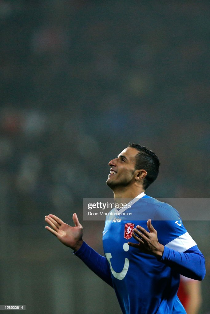 Nacer Chadli of Twente celebrates scoring the first goal of the game during the Eredivisie match between AZ Alkmaar and FC Twente at the AFAS Stadium on December 21, 2012 in Alkmaar, Netherlands.