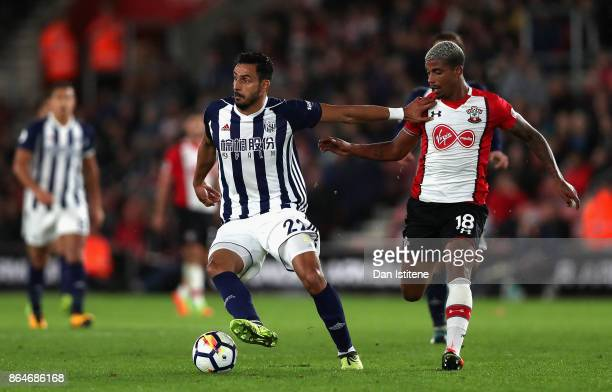 Nacer Chadli of West Bromwich Albion and Mario Lemina of Southampton in action during the Premier League match between Southampton and West Bromwich...