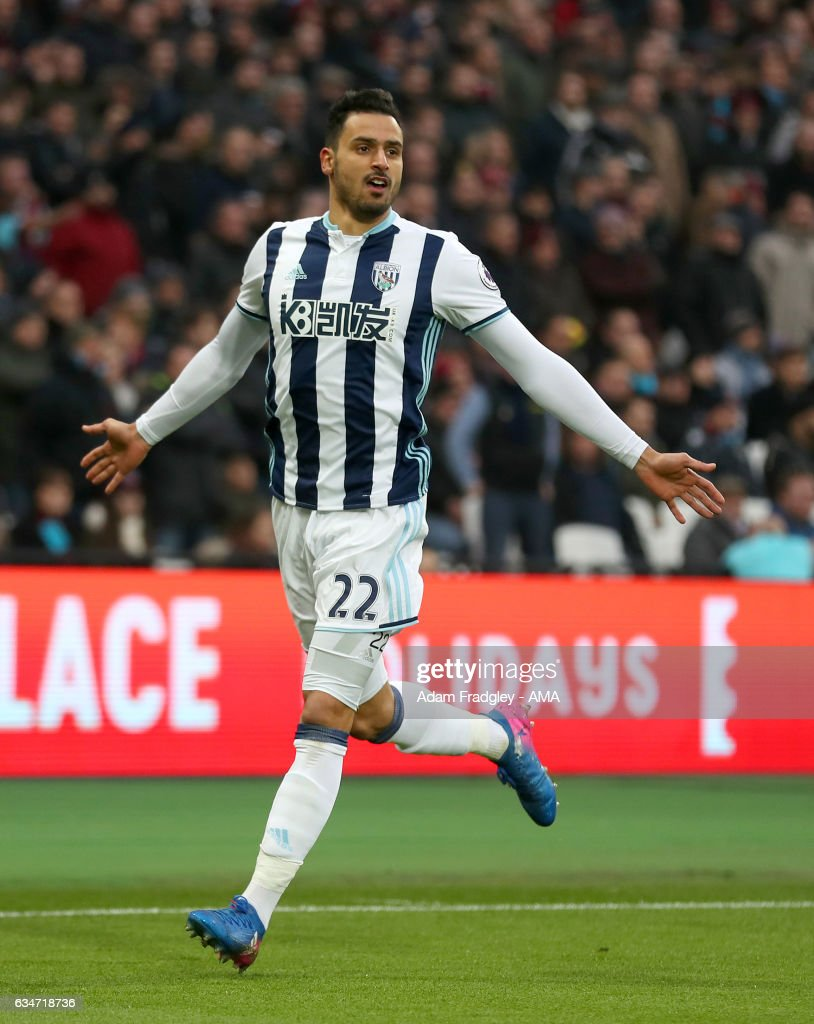 Nacer Chadli of West Bromwich Albion celebrates after scoring a goal to make it 0-1 during the Premier League match between West Ham United and West Bromwich Albion at London Stadium on February 11, 2017 in Stratford, England.
