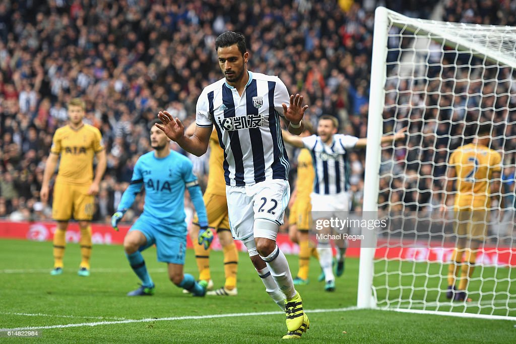 Nacer Chadli of West Bromwich Albion celebrates scoring his sides first goal during the Premier League match between West Bromwich Albion and Tottenham Hotspur at The Hawthorns on October 15, 2016 in West Bromwich, England.