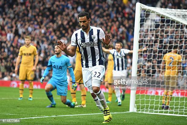Nacer Chadli of West Bromwich Albion celebrates scoring his sides first goal during the Premier League match between West Bromwich Albion and...