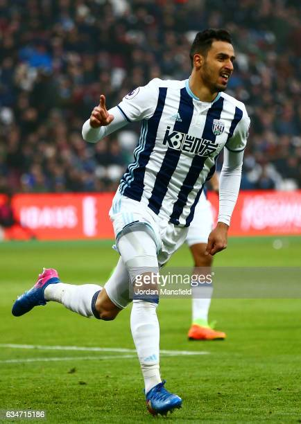 Nacer Chadli of West Bromwich Albion celebrates scoring the opening goal during the Premier League match between West Ham United and West Bromwich...