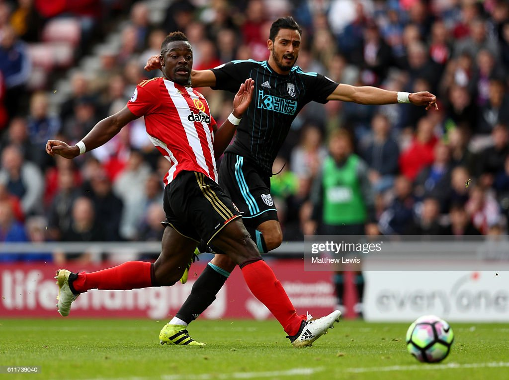 Nacer Chadli of West Bromwich Albion scores his sides first goal during the Premier League match between Sunderland and West Bromwich Albion at Stadium of Light on October 1, 2016 in Sunderland, England.
