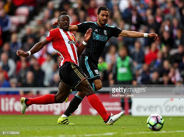 Nacer Chadli of West Bromwich Albion scores his sides first goal during the Premier League match between Sunderland and West Bromwich Albion at...