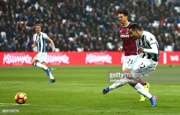 Nacer Chadli of West Bromwich Albion scores the opening goal during the Premier League match between West Ham United and West Bromwich Albion at...