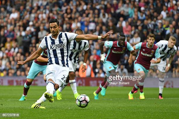 Nacer Chadli of West Bromwich scores his sides first goal during the Premier League match between West Bromwich Albion and West Ham United at The...