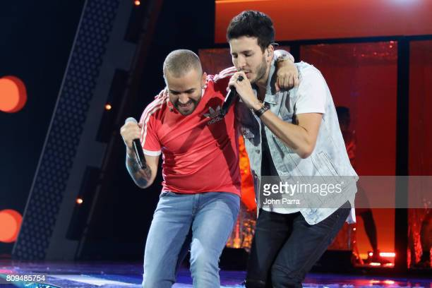 Nacho and Sebastian Yatra rehearse on stage during Univision's 'Premios Juventud' 2017 Celebrates The Hottest Musical Artists And Young Latinos...