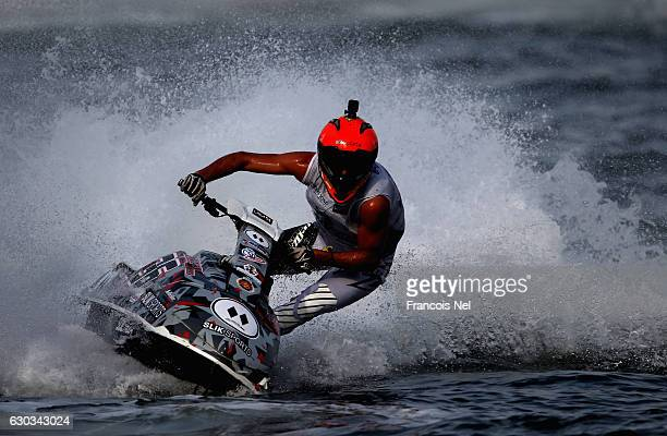 Nacho Armillas of Spain race in the Ski Division GP1 final during the Aquabike Class Pro Circuit World Championships Grand Prix of Sharjah at Khalid...
