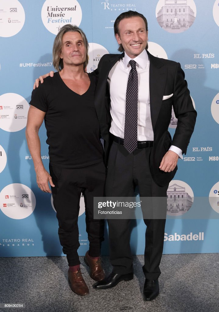 Nacho Cano (L) and guest attend the Universal Music Festival Sting's concert at the Teatro Real on July 5, 2017 in Madrid, Spain.