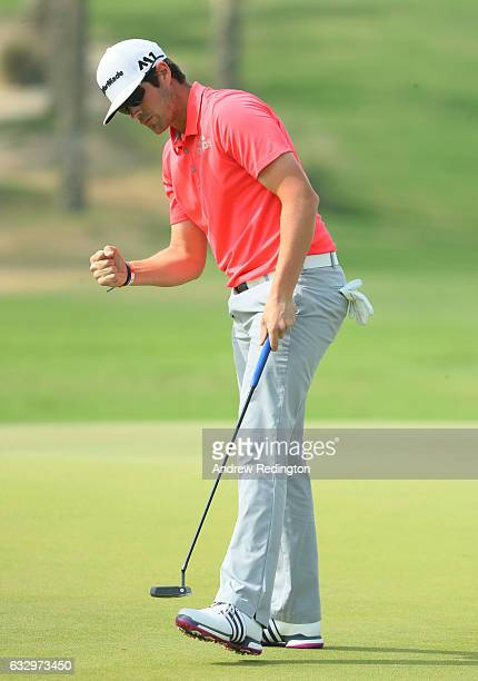 Nacho Elvira of Spain celebrates after saving par on the second hole during the fourth round of the Commercial Bank Qatar Masters at the Doha Golf...