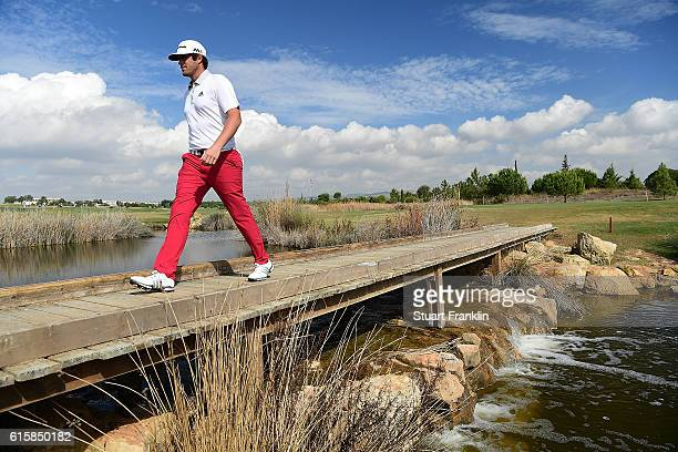 Nacho Elvira of Spain crosses a bridge during day one of the Portugal Masters at Victoria Clube de Golfe on October 20 2016 in Vilamoura Portugal