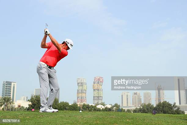 Nacho Elvira of Spain hits his tee shot on the third hole during the fourth round of the Commercial Bank Qatar Masters at the Doha Golf Club on...
