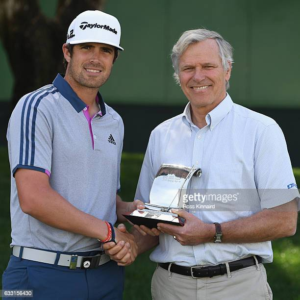 Nacho Elvira of Spain is presented with the 2016 Challenge Tour Graduate of the Year award by Alain De Soultrait the Director of the Challenge Tour...