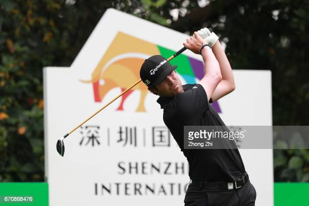 Nacho Elvira of Spain plays a shot during the first round of the Shenzhen International at Genzon Golf Club on April 20 2017 in Shenzhen China
