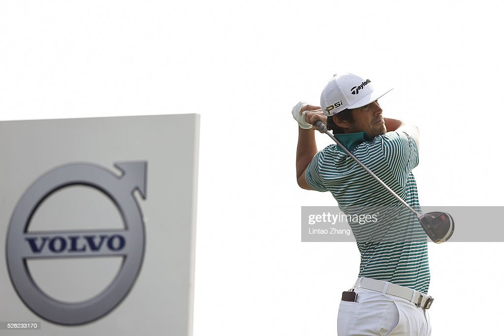 Nacho Elvira of Spain plays a shot during the second round of the Volvo China open at Topwin Golf and Country Club on April 30, 2016 in Beijing, China.