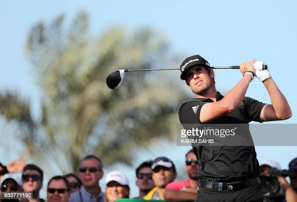 Nacho Elvira of Spain plays a shot during the third round of the Omega Dubai Desert Classic at the Emirates Golf Club on February 4 2017 in Dubai /...
