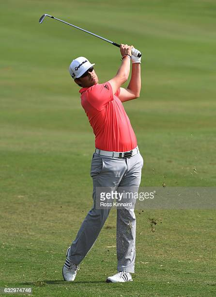 Nacho Elvira of Spain plays his second shot on the fifth hole during the fourth round of the Commercial Bank Qatar Masters at the Doha Golf Club on...
