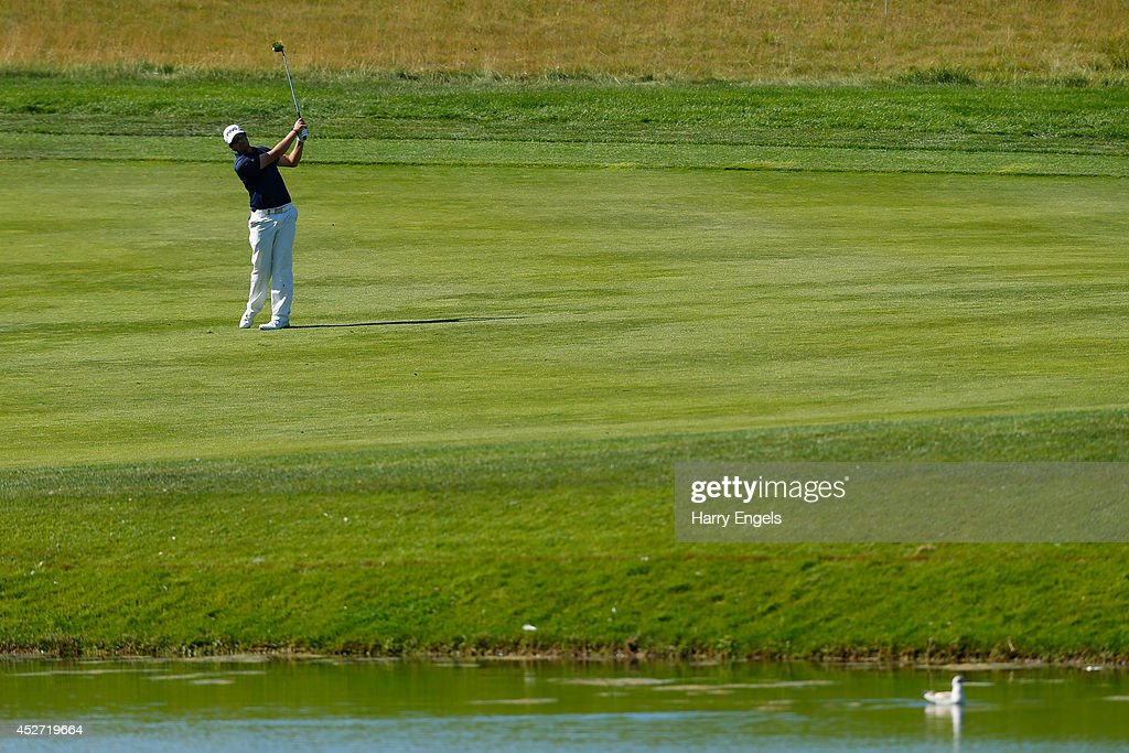 Nacho Elvira of Spain plays off the fairway at the seventeenth on day three of the M2M Russian Open at Tseleevo Golf & Polo Club on July 26, 2014 in Moscow, Russia.
