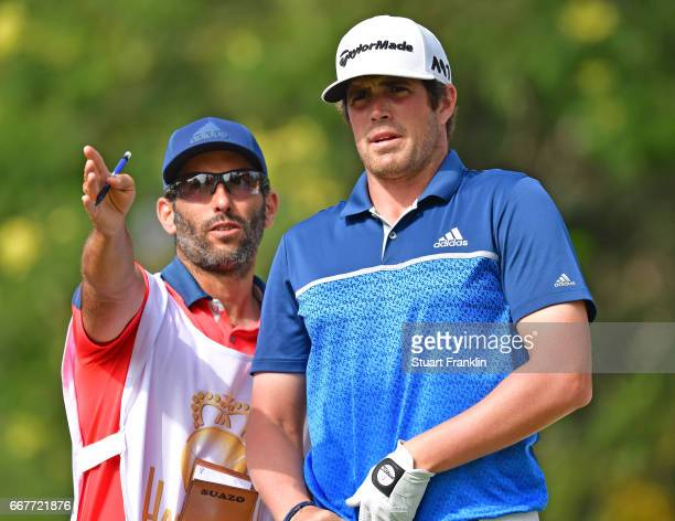 Nacho Elvira of Spain ponders a shot during the pro am prior to the Trophee Hassan II at Royal Golf Dar Es Salam on April 12 2017 in Rabat Morocco